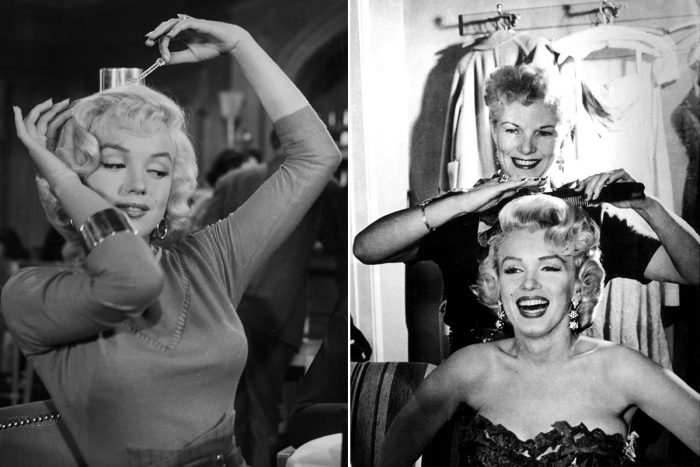 Hairdresser Gladys McAllister styling the hair of Marilyn Monroe